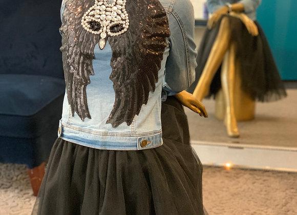 Black Sequin Wing Denim Jacket