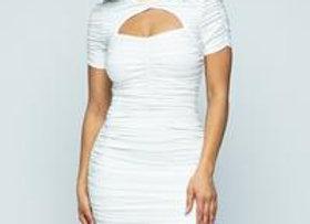 White wrinkle mini dress