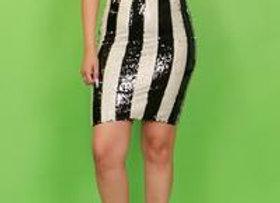 Black & White Sequin Pencil Skirt