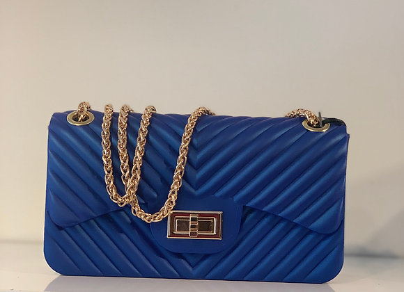 Royal blue pvc handbag
