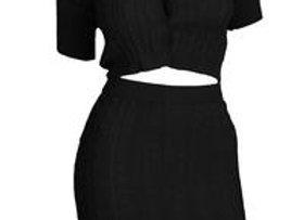 Black Cable Knit Skirt Set