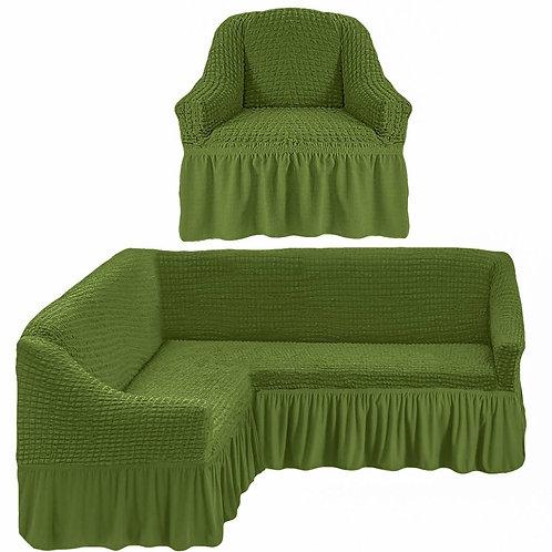 На угловой диван и кресло с оборкой. Цвет: оливковый