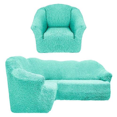 На угловой диван и кресло без оборки. Цвет: мятный