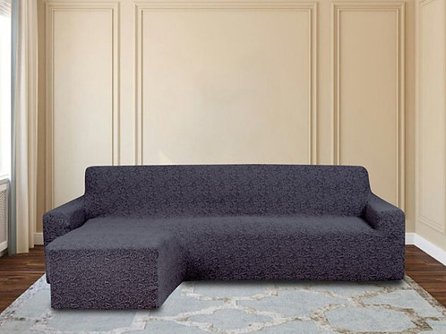 На диван с оттоманкой жаккард. Цвет: антрацит.