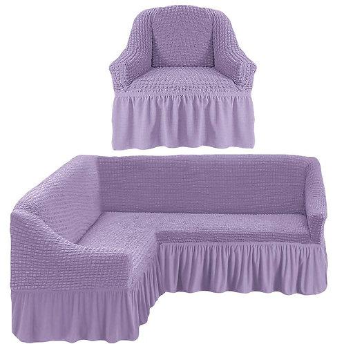 На угловой диван и кресло с оборкой. Цвет: лиловый