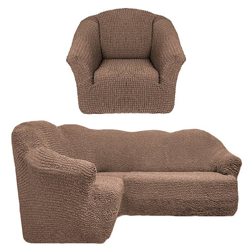 На угловой диван и кресло без оборки. Цвет: серо-коричневый