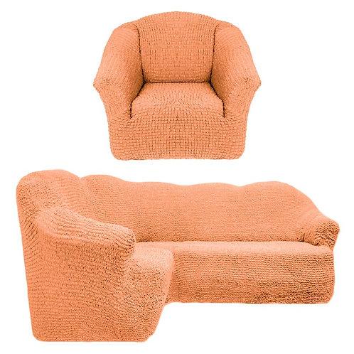 На угловой диван и кресло без оборки. Цвет: оранжевый