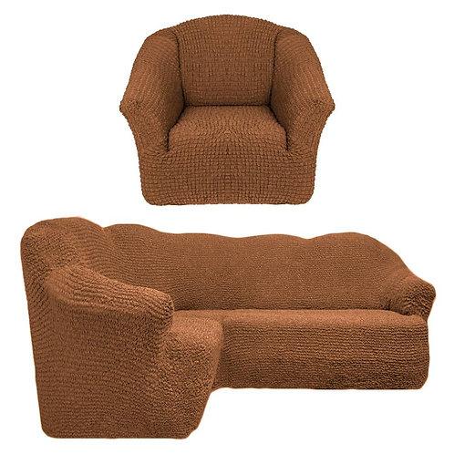 На угловой диван и кресло без оборки. Цвет: светло-коричневый