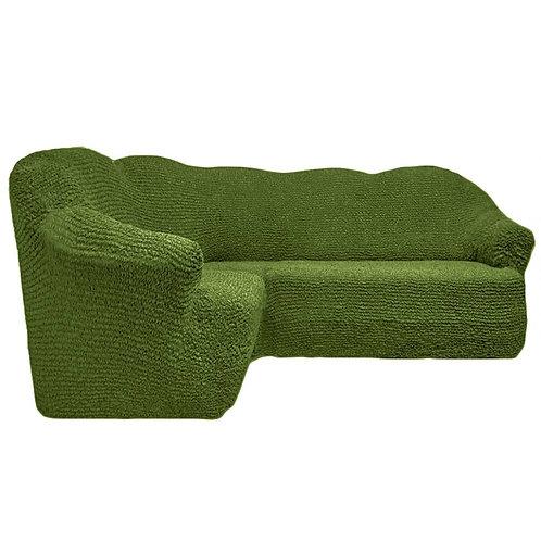 На угловой диван без оборки. Цвет: оливковый