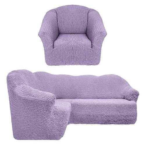 На угловой диван и кресло без оборки. Цвет: лиловый