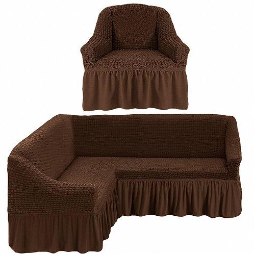 На угловой диван и кресло с оборкой. Цвет: шоколад