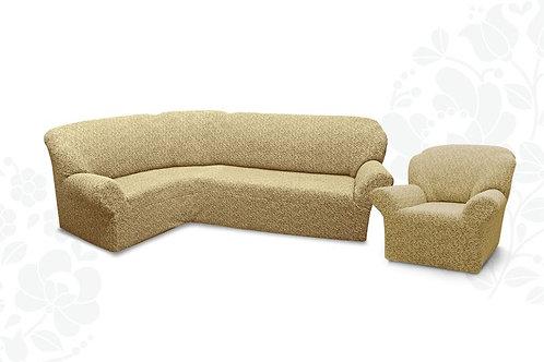 На угловой диван и кресло жаккард без оборки. Цвет: бежевый
