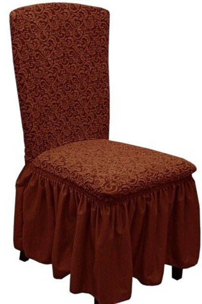 Комплект чехлов на стулья жаккард. Цвет: шоколад