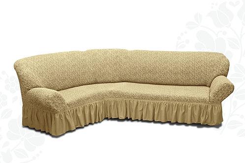 На угловой диван жаккард с оборкой. Цвет: бежевый