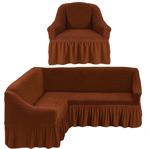 На угловой диван и кресло с оборкой. Цвет: коричневый
