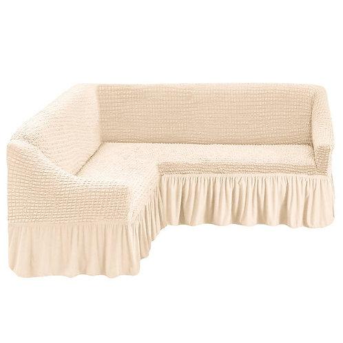 На угловой диван с оборкой. Цвет: кремовый (небольшие зацепки)