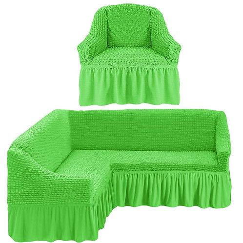 На угловой диван и кресло с оборкой. Цвет: салатовый