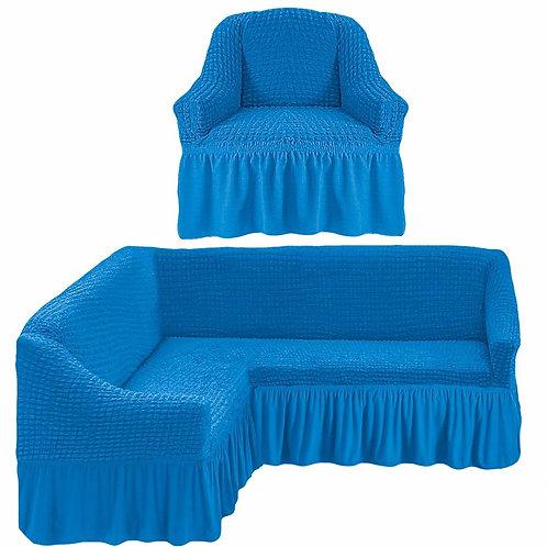 На угловой диван и кресло с оборкой. Цвет: синий