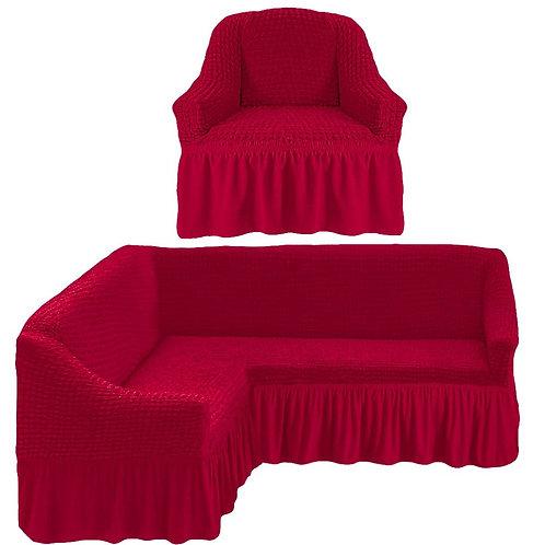 На угловой диван и кресло с оборкой. Цвет: бордовый