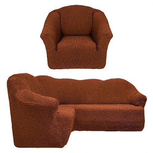 На угловой диван и кресло без оборки. Цвет: коричневый