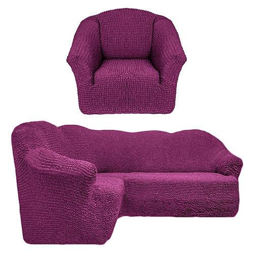 На угловой диван и кресло без оборки. Цвет: фиолетовый