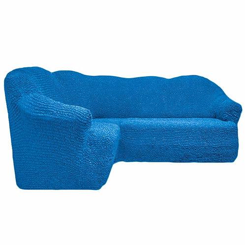 На угловой диван без оборки. Цвет: синий