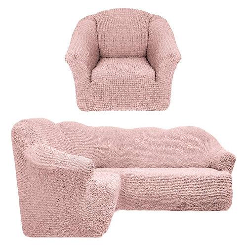 На угловой диван и кресло без оборки. Цвет: пудровый