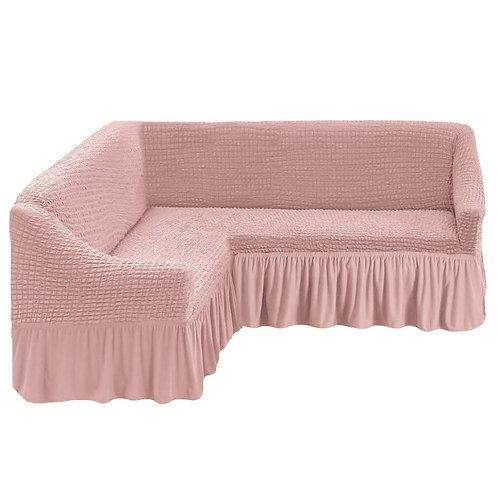 На угловой диван с оборкой. Цвет: пудровый