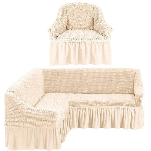 На угловой диван и кресло с оборкой. Цвет: кремовый