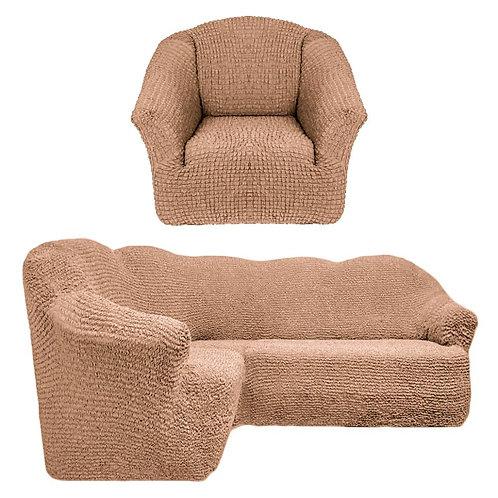 На угловой диван и кресло без оборки. Цвет: песочный