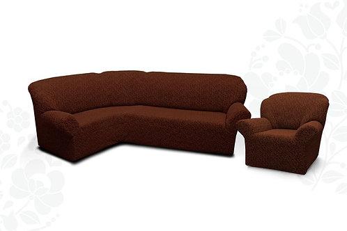 На угловой диван и кресло жаккард без оборки. Цвет: шоколад