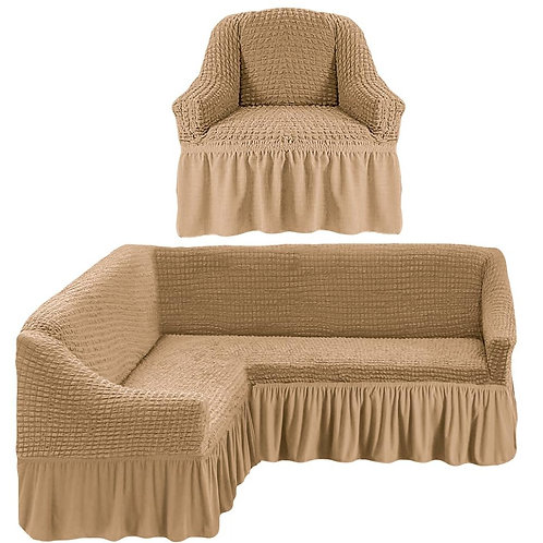 На угловой диван и кресло с оборкой. Цвет: бежевый