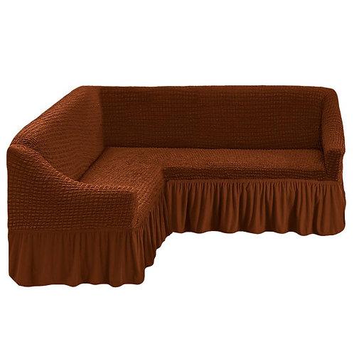 На угловой диван с оборкой. Цвет: коричневый
