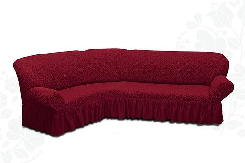 На угловой диван жаккард с оборкой. Цвет: бордовый