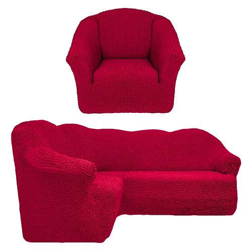На угловой диван и кресло без оборки. Цвет: бордовый