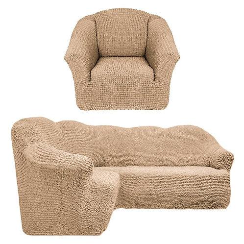 На угловой диван и кресло без оборки. Цвет: бежевый