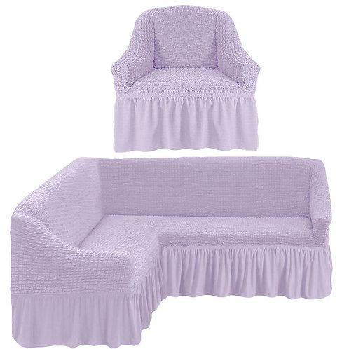 Чехол на угловой диван и кресло с оборкой. Цвет: светло-лиловый