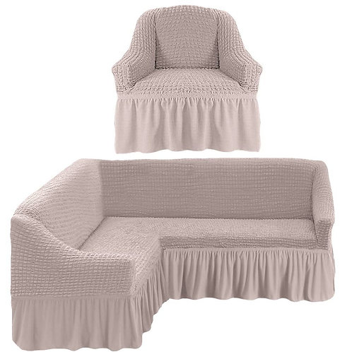 На угловой диван и кресло с оборкой. Цвет: натуральный