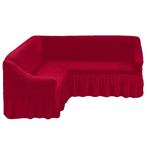На угловой диван с оборкой. Цвет: бордовый