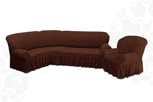 На угловой диван и кресло жаккард. Цвет: шоколад