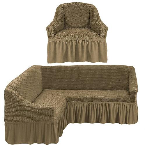 На угловой диван и кресло с оборкой. Цвет: хаки