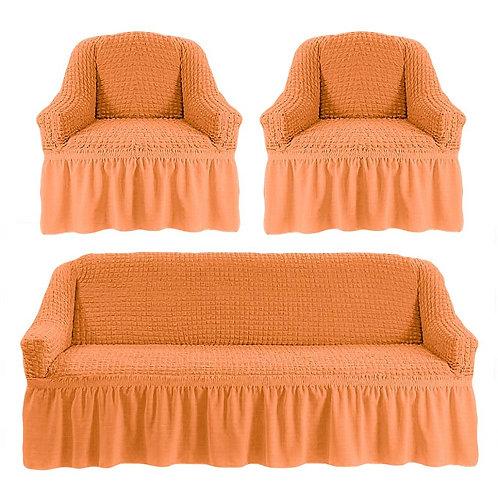 Комплект чехлов с оборкой. Цвет: оранжевый