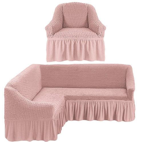 На угловой диван и кресло с оборкой. Цвет: пудровый