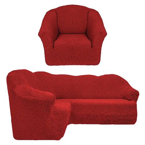 На угловой диван и кресло без оборки. Цвет: терракот