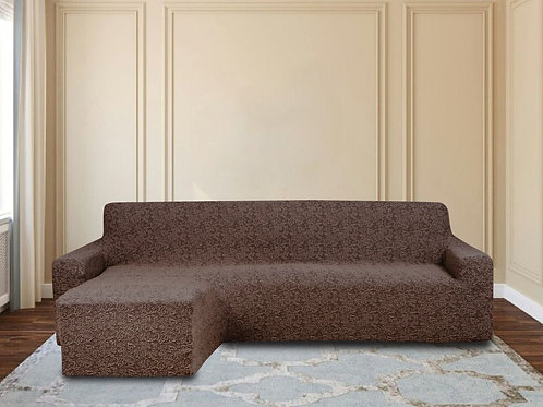 На диван с оттоманкой жаккард. Цвет: шоколад.