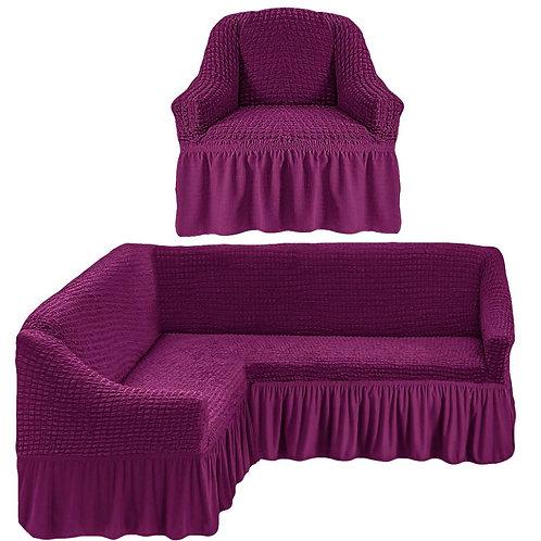 На угловой диван и кресло с оборкой. Цвет: фиолетовый