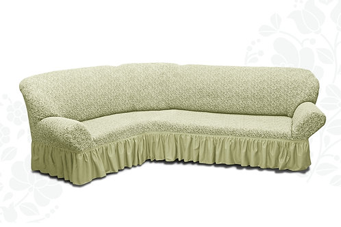 На угловой диван жаккард с оборкой. Цвет: шампань