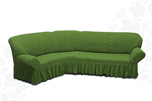 На угловой диван жаккард с оборкой. Цвет: зелёный