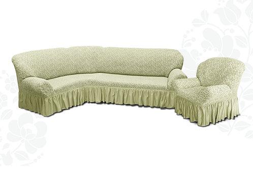 На угловой диван и кресло жаккард. Цвет: шампань