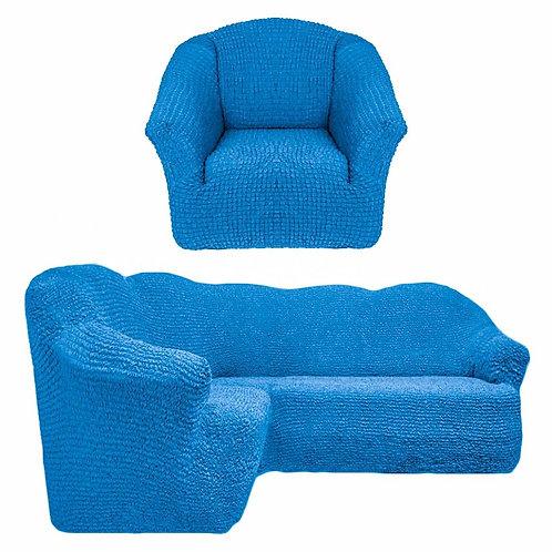 На угловой диван и кресло без оборки. Цвет: синий